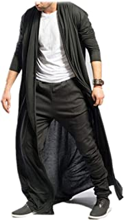 Funnygals - Men's Ruffle Shawl Collar Cardigan Jackets Open Front Outerwear Cotton Long Drape Cape Poncho Trench Coat