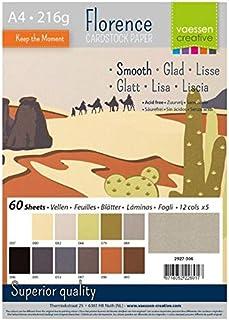 Vaessen Creative Florence Papier Cartonné, Couleurs Bruns, 216g, A4, 12x5 Feuilles, Surface Lisse, pour Peindre, Scrapbook...