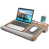"""HUANUO Supporto per Laptop con Cuscino, Tappetino per Mouse e Pad da Polso Integrati per Notebook Fino a 15.6"""", con Supporto per Tablet, Penna e Telefono"""