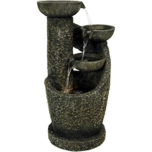 Sunnydaze Modern Spiraling Bowls Outdoor Water Fountain with Lights, Cascading Garden Waterfall Feature, 32-Inch