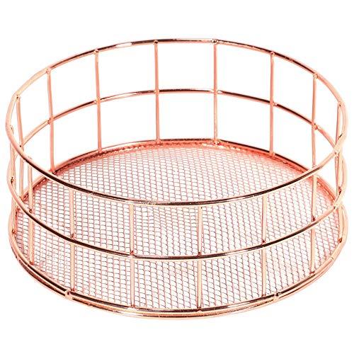 Fransande Cesta de almacenamiento de hierro de oro rosa, apilable, organizador de maquillaje, bandeja de almacenamiento
