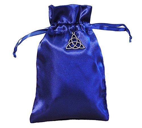 Quixotic Creations Tarot Rune Gift Bag with Irish Celtic Knot Triquetra Charm Royal Blue Satin 5 inch x 8 inch