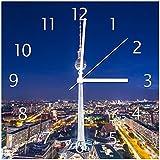 Wallario Glas-Uhr Echtglas Wanduhr Motivuhr • in Premium-Qualität • Größe: 30x30cm • Motiv: Fernsehturm Berlin bei Nacht