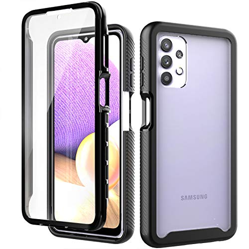 Hoyyi for Samsung Galaxy A32 5G Case with Built-in Screen Protector, Dual Layer Hybrid Protection, Crystal Clear Back, Full-Body Rugged Shockproof Protective Cover for Samsung Galaxy A32 5G (Black)