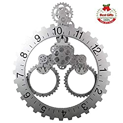 SevenUp Large Silver Wall Clock Silent, 26 x 22 Office Modern Non Ticking Battery operated Clock for Living Room - Premium Plastic and Metal Parts Material, Best 3D Moving Gear Wall Decorative Clock