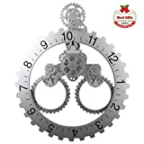 SevenUp Large Silver Wall Clock Silent, 26' x 22' Office Modern Non Ticking Battery operated Clock for Living Room - Premium Plastic and Metal Parts Material, Best 3D Moving Gear Wall Decorative Clock