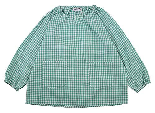 子供服なかよしオリジナル 【綿100%】ギンガムチェックスモック 110~160cm 4色 (ミントグリーン, 120)