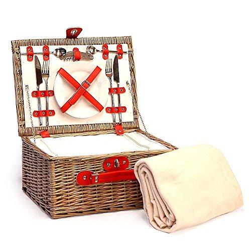 Luxus Picknickkorb 'Red Chiller' für 2 Personen Mit Integriertem Kühlfach Und Zubehör - Ideale Geschenkidee Zum Geburtstag, Hochzeit, Ruhestand, Jubiläum