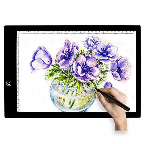 Fighrh Creativo ultra-delgado de luz LED A4 Caja copia del álbum de bocetos de dibujo de pantalla del tablero de dibujo del cojín de Búsquedas caja de luz con brillo ajustable for artistas y Chirldren
