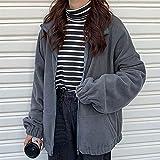 Outwear for mujer Sudaderas Fleece Otoño Streetwear Zip-up Sudadera de gran tamaño Chaqueta de bolsillo Bolsillo Outwear Outwear (Color : Grey, Size : 4XL)