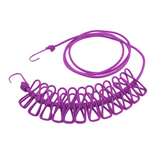 Stendibiancheria elastico regolabile da viaggio portatile, filo stendibiancheria con mollette 12 pezzi per uso esterno e interno (colore viola)