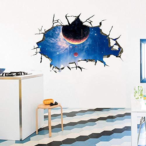 Pvc fai da te Nuovo 3D Broken Wall Vasta galassia Sala planetaria Museo della scienza e della tecnologia Boy Room Living Room Decoration