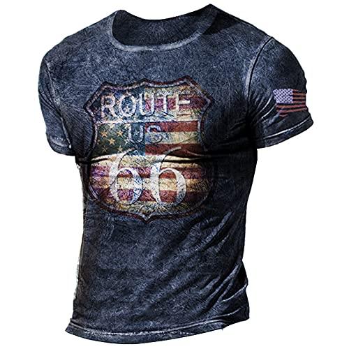 Camiseta Oldschool Route 66 para Hombre, Camiseta De Manga Corta con Estampado De La Ruta 66 De La Bandera...