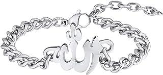 PROSTEEL Stainless Steel Beads Allah Bracelet Muslim Islamic Jewelry Religious Islam Arabic God Charm Bracelet, fits Wrist...