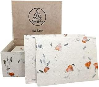 Ecofriendly Handmade Lokta Greeting Card & Envelope Box Set 15 Blank Vintage Cards With Envelopes - Handmade Paper in Nepal - Premium Cards (Bougainvillea, Marigold & Persian Silk)