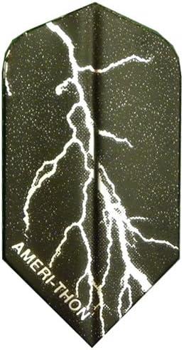 3 Sets Direct sale of manufacturer #3460 AmeriThon Super sale Black Flights Dart Silver Lightning Bolts