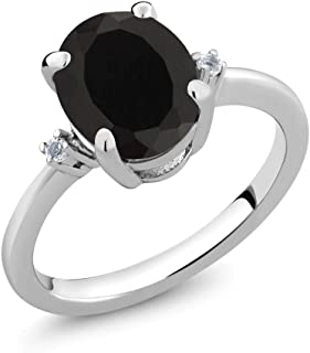 925 Sterling Silver Black Onyx and White Diamond Women Ring 2.22 Cttw (Available 5,6,7,8,9)