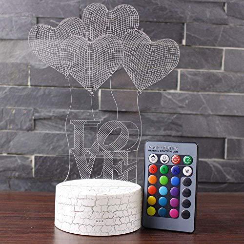 Lámpara de noche 3D con forma de corazón con mando a distancia, lámpara de mesa, luz nocturna, luz de ambiente para San Valentín, 7 colores