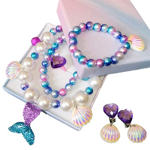 Yiran Girls Magical Mermaid Jewelry Set with Gift Box Candy Bracelet Mermaid Tail Necklaces Earrings and Ring For Girls Play Pretend Dress Up Favors Gift for Christmas And Birthday