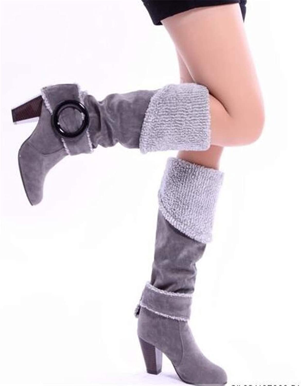 Julitia High Heels Winter add Plush Knee Boots Women shoes Slip on Warm Party