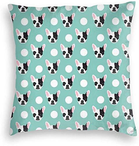BathWang Funda de cojín, funda de almohada de terciopelo, fundas de cojín para sofá, coche, decoración del hogar, 45 x 45 cm (diseño de bulldog francés, diseño de lunares, divertido perro cabeza de perro)