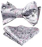 HISDERN Paisley Floral Party Self Bow Tie Fazzoletto da uomo Self Bow tie & Pocket Square Set