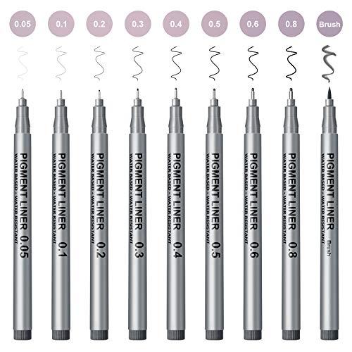Micro-Line Pens, Black Drawing Pens, 9 set Fineliner Ink Pens, Professional Art sketch marker pen Supplies for Artist Sketching, Manga Illustration, Calligraphy, Bullet Journaling, Technical Drawing