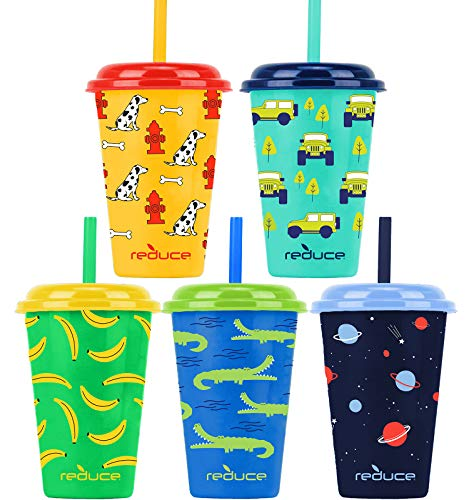 Reduce GoGo's – 12 oz Kids Tumbler Set, 5 Pack – Plastic Kids Cups with Straws and Lids – Dishwasher Safe, BPA Free – An Ideal Kids Smoothie Cup – Mix and Match, 5 Fun Designs, Wild