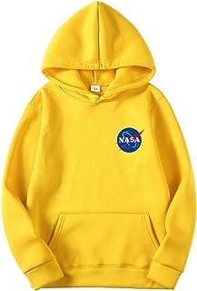 OLIPHEE Felpe con Cappuccio Tinta Unita con Logo di NASA Maglione Casuale per Ragazzi e Uomo