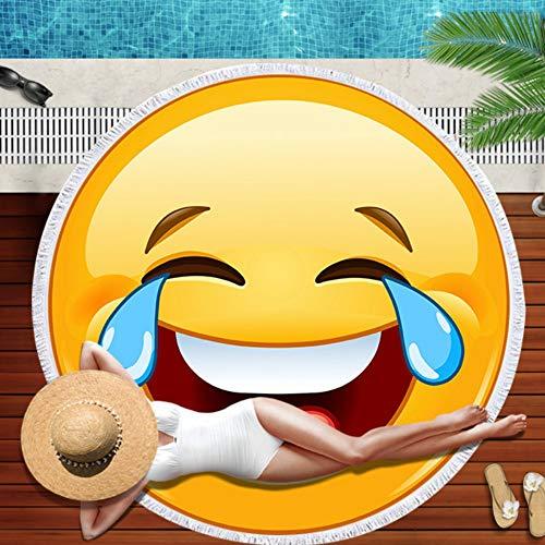 Runde Strandtuch Übergroße Dicke Decke, Emoji Lachen Tränen Microfaser-Qualität Mit Baumwolle Quasten, Fransen, Neuheit Drucken 60-Zoll Großen Sand Proof Quick Dry Outdoor Camping Yoga Matte