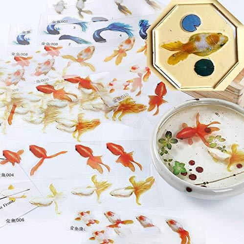 BLOUR 10 Uds 3D pez Dorado Cola de pez Azul Agua Clara Pegatina de película de Hierba para Resina Goldfish Pintura joyería