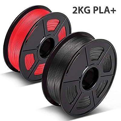 3D Warhorse PLA Plus(PLA+) Filament, PLA Plus(PLA+) Filament 1.75mm, Dimensional Accuracy +/- 0.02 mm, 4.4 LBS(2KG), Bonus with 5M PCL Nozzle Cleaning Filament, Black+Red