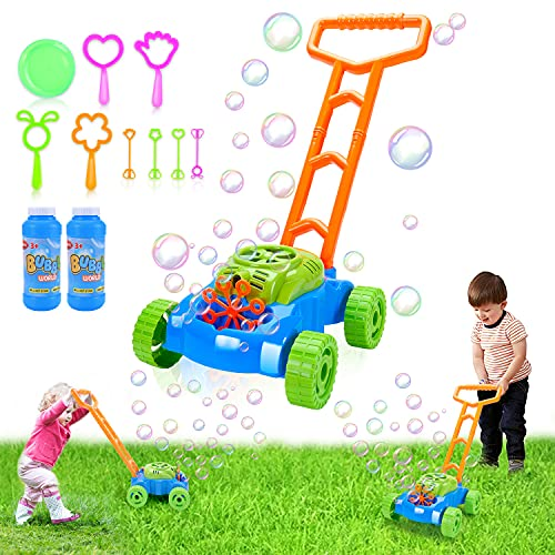 Toddler Bubble Machine Lawn Mower  Toys for 3 4 5 Year Old Boys Girls Automatic Bubble Blower Machine Solutions  Outdoor Push Toys for Baby Kids Summer Outside Toy Party Favor Birthday Gift