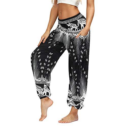 Enhome Damen Boho Haremshose mit Taschen, Exotisch Elefant Drucken Hohe Taille Elastischen Bund Sommer Pumphose Freizeit Pilates Yoga Hose (Eine Größe,Schwarze Feder)
