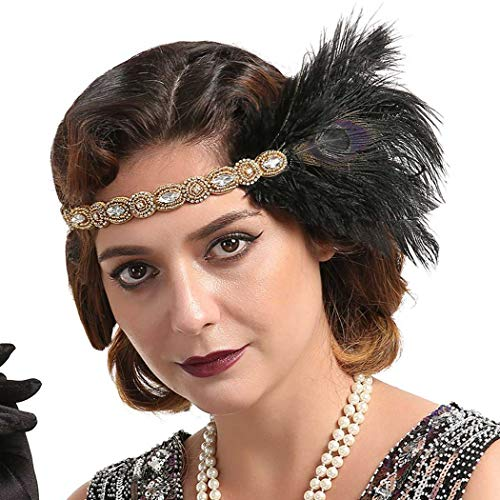Fashband Peacock Flapper Headband 1920S Vintage Feather Headpiece avec Crystal Roaring 20s Great Gatsby Headband Flapper Cheveux Accessoires pour femmes et filles (or)