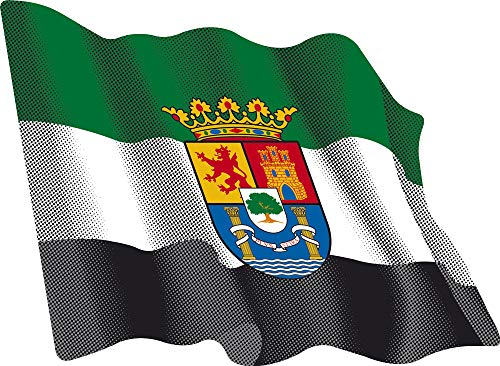 Artimagen Pegatina Bandera Ondeante Extremadura 80x60 mm.