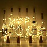10 Pack LED Flaschenlicht Deko - 2M 20 LED Lichterkette Batterie, Led Korken mit LED Lichterkette für Flasche, Tischdeko Geburtstag, Weihnachten, Hochzeit, Valentinstag, Dekoration Wohnung - 2