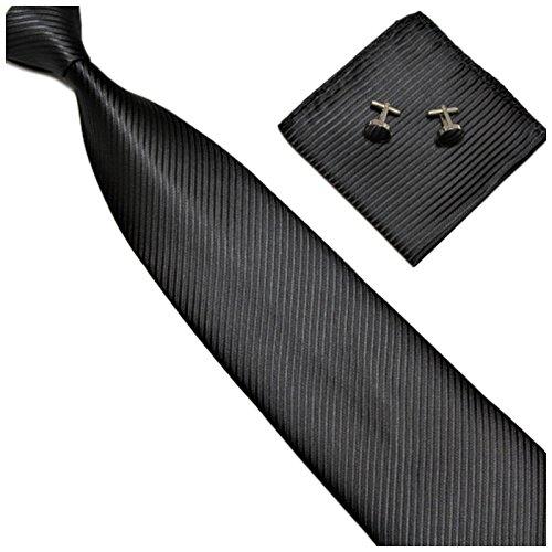 GASSANI 3-SET Schwarze Krawatte Streifen gestreift | Binder Schwarz Manschettenknöpfe Einstecktuch | Krawattenset zum Anzug Seide-Optik