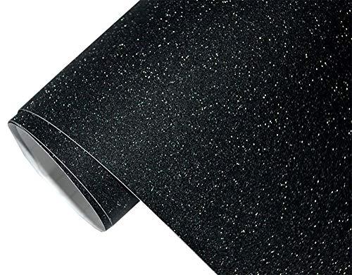 6€/m² Auto Folie - glitzer schwarz 100 x 150 cm - selbstklebend BLASENFREI flexibel Car Wrapping Klebefolie folieren