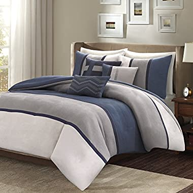 Madison Park Palisades Cal King Size Bed Comforter Set Bed in A Bag - Navy, Grey, Pieced Stripe – 7 Pieces Bedding Sets – Micro Suede Bedroom Comforters