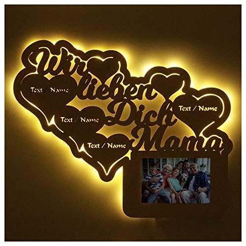 Mama Foto Geschenke Geschenkidee zum Muttertag Geburtstag personalisiert mit Namen Gravur Bilderrahmen 10 x 15 cm Beleuchtet