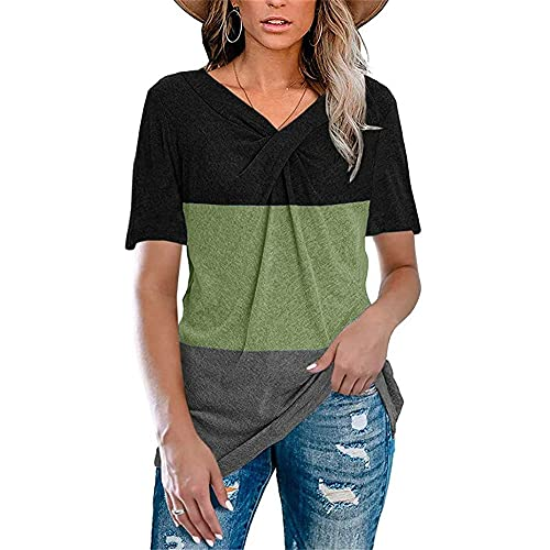 Manga Corta Mujer Verano Cuello V Empalme Mujer Tops Único Cuello Diseño Mujer Diario T-Shirts Diario Casual Cómodo Transpirable Mujer Blusa F-Black Green2 XL