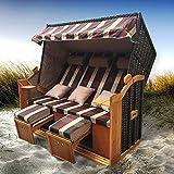 BRAST Strandkorb Ostsee 3-Sitzer 160cm breit Rot Grün Beige kariert XXL Volllieger incl. Schutzhülle Gartenliege Sonneninsel Poly-Rattan