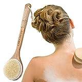 Cuerpo cepillo, cepillo espalda ducha, suave natural cerdas cepillo y desmontable mango largo, limpiar espalda y euerpo, exfoliación, masajee, spa, anti celulitis, obtener piel suave