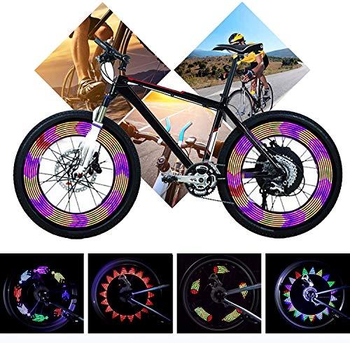 Yunjiadodo 2 Stück Fahrrad LED Speichenlicht-14LED wasserdichte Fahrradfelge Licht 30 Muster-Sicherheitsreifen Lichter für Kinder Erwachsene, sehr hell für MTB-Radreifen
