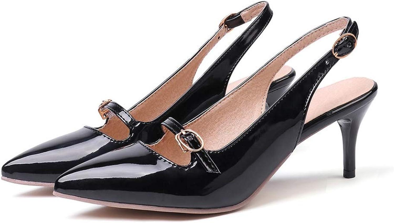 FUZE 2019 New Summer Fashion Black Apricot Women Slingback Sandals Lady shoes High Heels