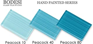 Peacock Blue Sample Pack, Hand Painted Glass for Tile Kitchens and Bathrooms