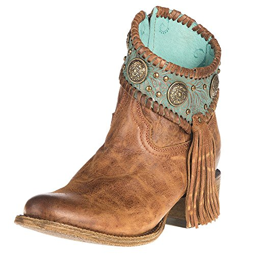 Corral Ld Cognac / Turquoise Conchos Ankle Boot ,Size 6