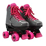 Circle Society Classic Adjustable Indoor and Outdoor Childrens Roller Skates - Bling Sizzling Pink, 3-7 US