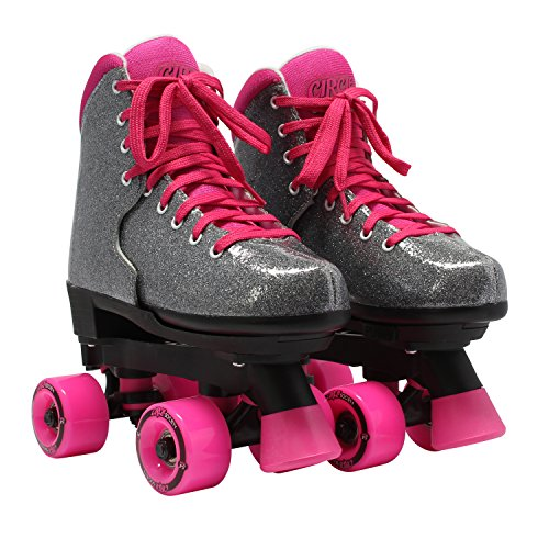 Circle Society Classic Adjustable Indoor and Outdoor Childrens Roller Skates - Bling Sizzling Pink
